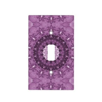 Purple Boho Chic Abstract Kaleidoscope Switch Plate Cover