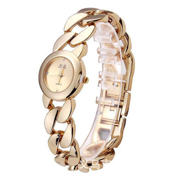 Stylish Alloy Watch Elegant Ladies Quartz Bracelet Watch [8863741383]