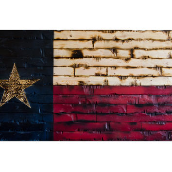 Texas State Flag Rustic Wood Decor 60x29