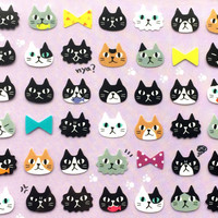 Kawaii Cat Stickers - Japanese Stickers - Japanese Cat Stickers -  Cats Eating Fish - Cat And Bows - Black Cats (S238)