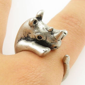 Animal Wrap Ring - Rhino - White Bronze - Adjustable Ring - keja jewelry