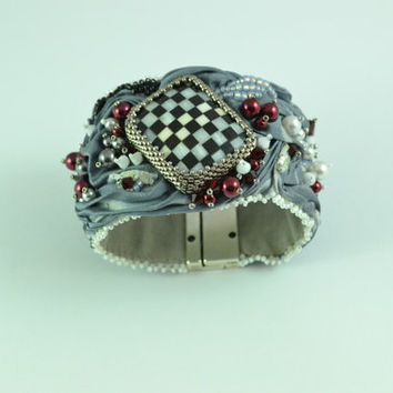 OOAK Queen of Hearts Shibori Ribbon and Beadwoven Bracelet Silver Grey Shibori Ribbon, Checkerboard, Swarovski and Pearls Birthday Gifts