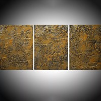 """ARTFINDER: Silver and Gold three piece extra large triptych 3 panel wall art painting big canvas wall abstract canvas impasto modern 54 x 20"""" by Stuart Wright - """" Silver and Gold """" impasto modern art piece fo..."""