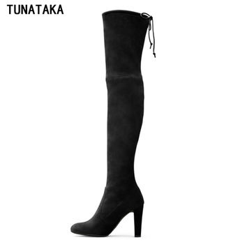 Women Suede Thigh High Boots Sexy Fashion Over the Knee High Boots Platform Chunky Heels Plus Size Shoes Woman Black Brown Grey