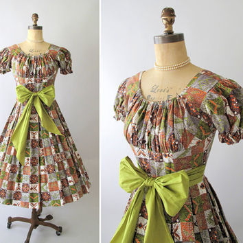 Vintage 1950s Dress Tiki Print Party Dress by RaleighVintage