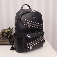 PP PHILIPP PLEIN LEATHER ZIPPER CASUAL BACKPACK BAG