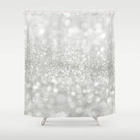 White Shiny Texture Shower Curtain by Cafelab
