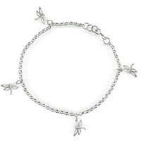 Bling Jewelry 925 Sterling Silver Multi Dragonflies Anklet Ankle Bracelet 10in