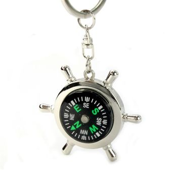 New Portable Alloy Silver Nautical Compasses Helm Keychain Ring Chain Gift Hiking Camping Fishing Adventure Survival Kit 4A