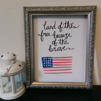 Star Spangled Banner Land of the Free Wall Art Watercolor Print