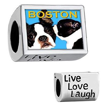 CharmSStory Boston Terrier Dog Silver Plated Charm Live Love Laugh Photo Beads For Bracelets
