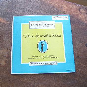 Analysis Music Appreciation Record; Brahms Piano Concerto No. 2/B flat or Schubert Trout Quintet - Teal Cover Classical LP - Scherman