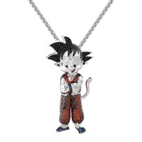 Custom Red Iced Out Designer New Goku character Pendant 14k White Gold Finish Free Chain