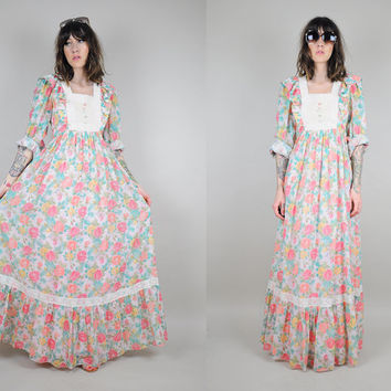 MAJOR SALE // Pastel Floral vtg 70's MAXI Full Sweep dress Gauze Crochet ruffle prairie Hippie bohemian cotton dolly