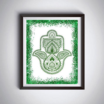 Hamsa hand print Green glitter Hamsa hand poster 16X20 Hamsa  print  Printable gift for yoga lovers  Modern art print  Modern home decor