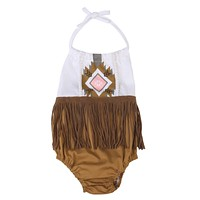 Newborn Infant Baby Girls Boys Sleeveless Tassel Romper Backless Cute Jumpsuit Outfit Clothes Baby Girl