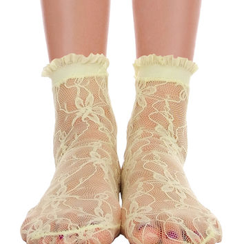 Lace With Ruffle Ankle Socks Lime