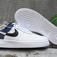 HCXX 19Nov 165 Nike Air Force 1 NBA Navy Satin Women Men Sneakers Casual Skate Shoes