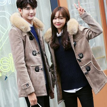 XMY3DWX Male 2017 brand  Ox horn buckle couples Young men and women Solid color Design Leisure Fur collar cotton dress Jacket