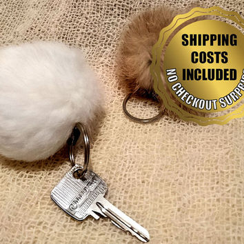 2 Pieces Pom Pom Keychain - 100% Naturel Genuine Rabbit Fur
