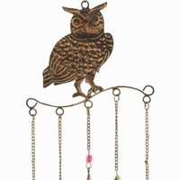 Benzara Metal Owl Wind Chime Golden Wire Detailing in Colored Beads