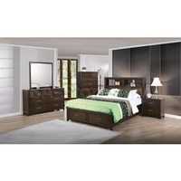 New Spec Edison 5 PC Java Oak Storage Bedroom Set (Bed, Night Stand, Dresser, Mirror and Chest) | Bedroom sets NSP-516002BQS/8