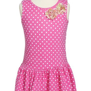 Girl's Pippa & Julie Dot Sleeveless Drop Waist Dress,
