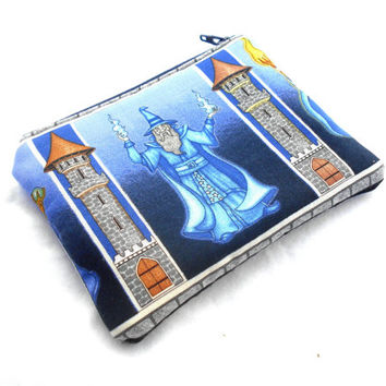 Wizard Zipper Pouch -  Merlin Magic Clutch Wallet Electronics