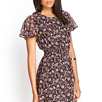 FOREVER 21 Floral Flutter Sleeve Dress Black/Rust
