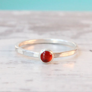 Red carnelian stacking ring, sterling silver stack ring, stackable, handmade, red ring, hammered band, 4 mm gemstone, stack ring