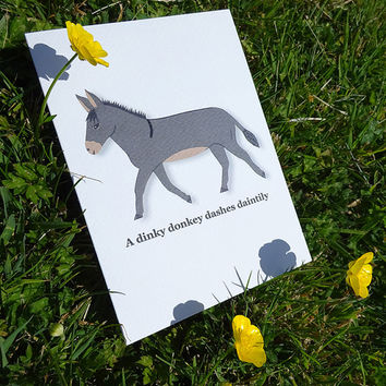 Animal card, dinky donkey greeting card, cute hand illustrated donkey design ideal for the horse lover in your life