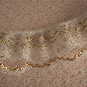 Gathered Triple Ruffled Lace -White Lace with Gold-Christmas Lace Trim-Bridal Accessories-Lace for Costumes-Lace by the Yard