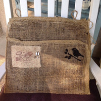 Burlap rustic mail pouch, mud room decor, bird decor, storage basket