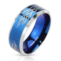 Blue Tribal Shaman– Polished blue IP and silver stainless steel men's ring with fire tribal inlay