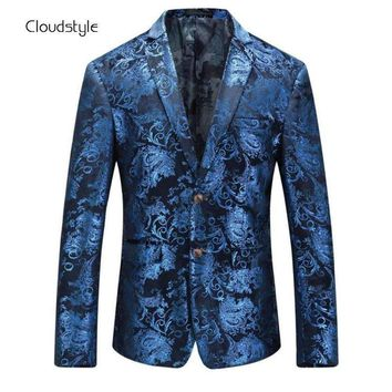 Cloudstyle 2018 New Brand Men Blazer Fashion 3D Floral Print Suit Blazer Single Breasted Party Clothing Slim Fit Blazer for Male