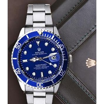 Rolex Watch Fashion Blue Women Men Contrast Classic Watch