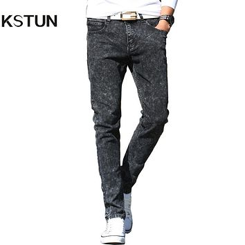 New Arrival Jeans Men Fashion Slim Pencil Pants Male Trousers Snow White Stretch Jeans For Young Man Boys Biker Motorcycle Jeans