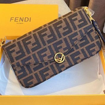 Fendi three-piece wide shoulder strap embroidered Messenger bag limited edition Canvas coffee