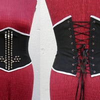 Underbust corset with inverted spiked cross,heavy black metal,goth clothing,Big cross corset belt,satanic witch