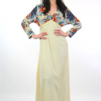Vintage 70s Boho Hippie white color block deep V long sleeve floral maxi dress