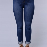 Modern High Rise Skinny Jeans - Medium Blue