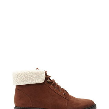 Faux Shearling-Trimmed Boots