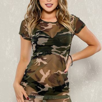 Sexy Camo Printed Short Sleeve Side Slit Sheer Body con Party Dress