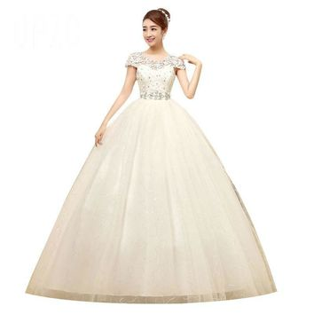 Spring and Summer Dresses Lace Cap Sleeve Crystal Sashes Wedding Dress