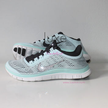 NIKE run free 3.0 V5 running shoes w/Swarovski Crystals detail - Teal Tint/Summit White/Dark Charcoal