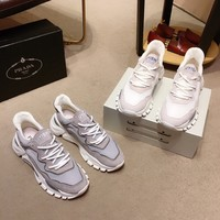 Best Quality Prada 2020 Popular Men Casual Breathable white Canvas Sneakers Running Shoes TREDING mens Valentino low top shoe boots