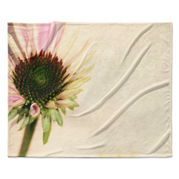 """Sylvia Coomes """"Pink And Yellow Flower"""" Blush Floral Fleece Throw Blanket"""