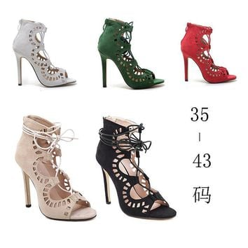 Women Sandals Brand Designer Gladiator High Heels Sexy Open Toe Cut Outs Women Shoes L