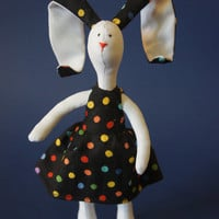 Stuffed bunny animal toy White Bunny in Color Dress READY to Ship!!!