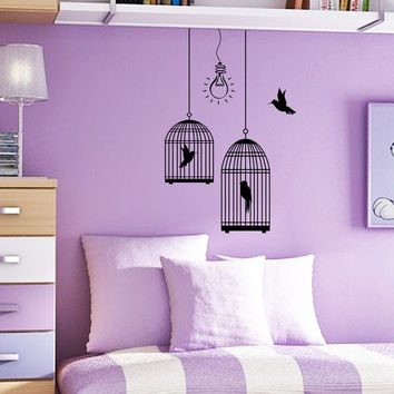 Wall Decal Bird Cages With Birds Light Bulbs Design Wall Decals Childrens Bedroom Living Baby Room Vinyl Stickers Animals Home Decor 3838